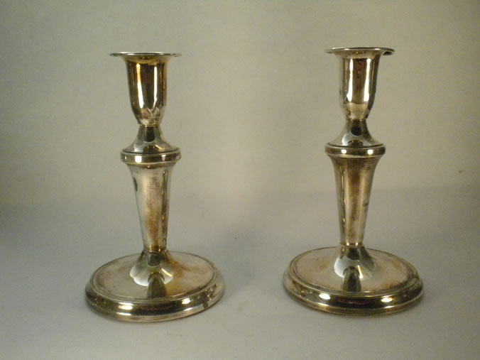 "A pair of silver candlesticks. ""Slagelse silver"""
